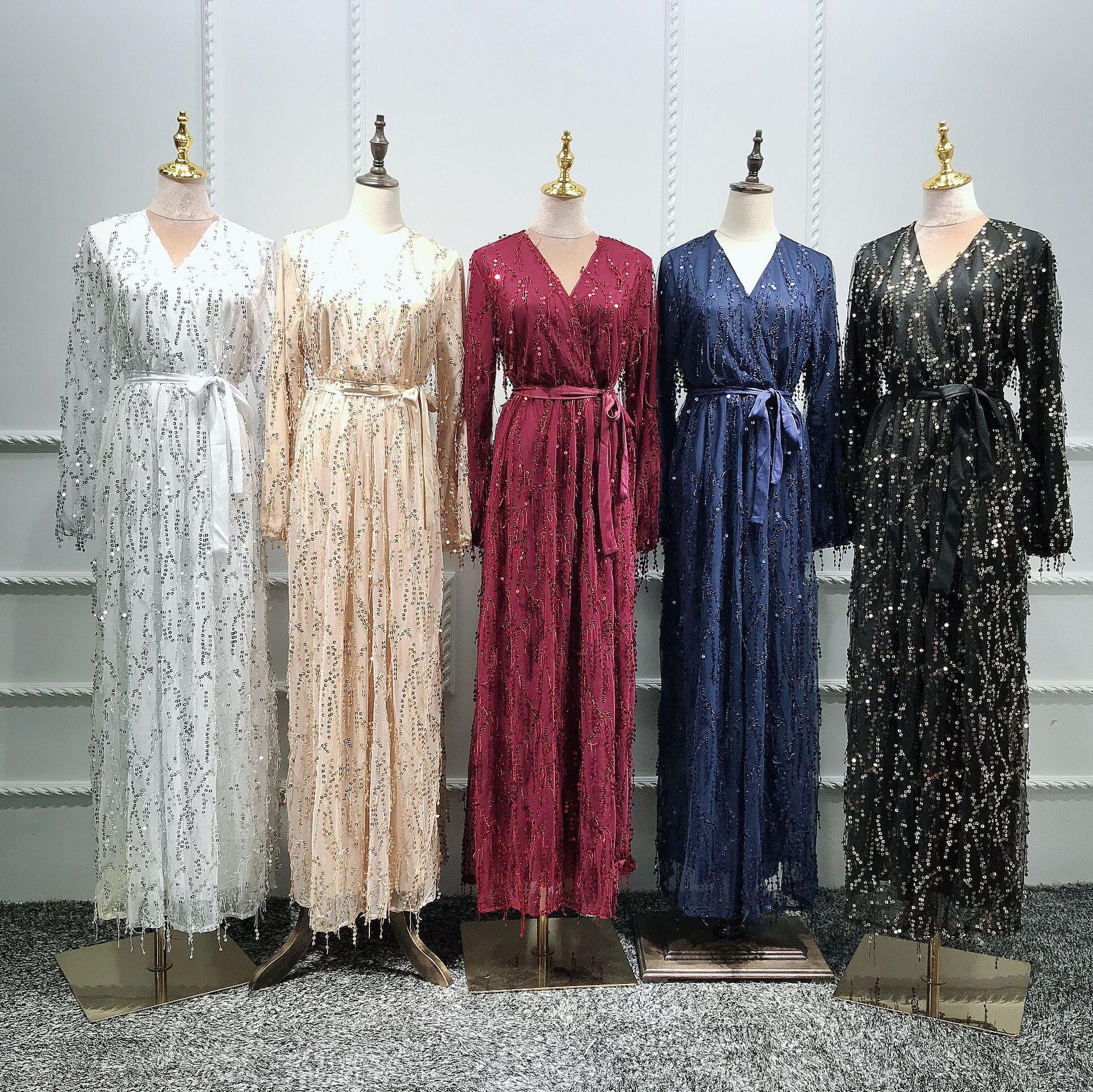 Image 4 - Fashion Sequin Tassel Abaya Turkish Dresses Hijab Muslim Dress Dubai Abayas for Women Caftan Marocain Kaftan Islamic ClothingIslamic Clothing   -