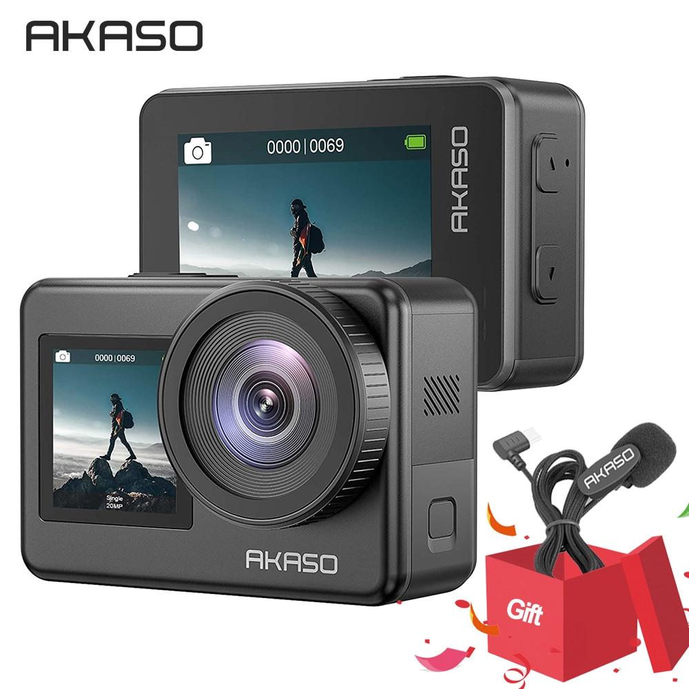 AKASO Храбрый 7 4K30FPS 20MP Wi-Fi экшн-Камера сенсорный Экран Vlog Камера EIS 2,0 зум голос Управление Водонепроницаемый Камера поддержка микрофона
