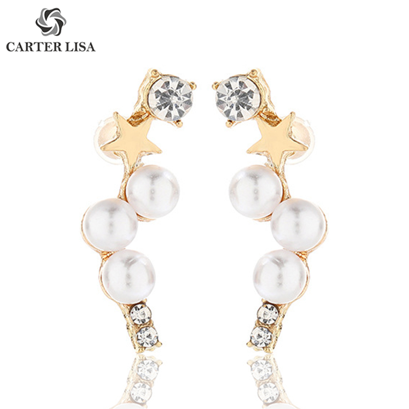 CARTER LISA Trend Gold Color Pearl Star Rhinestone Stud Earings For Women Ethnic Bohemian Jewelry Party Personality Gifts