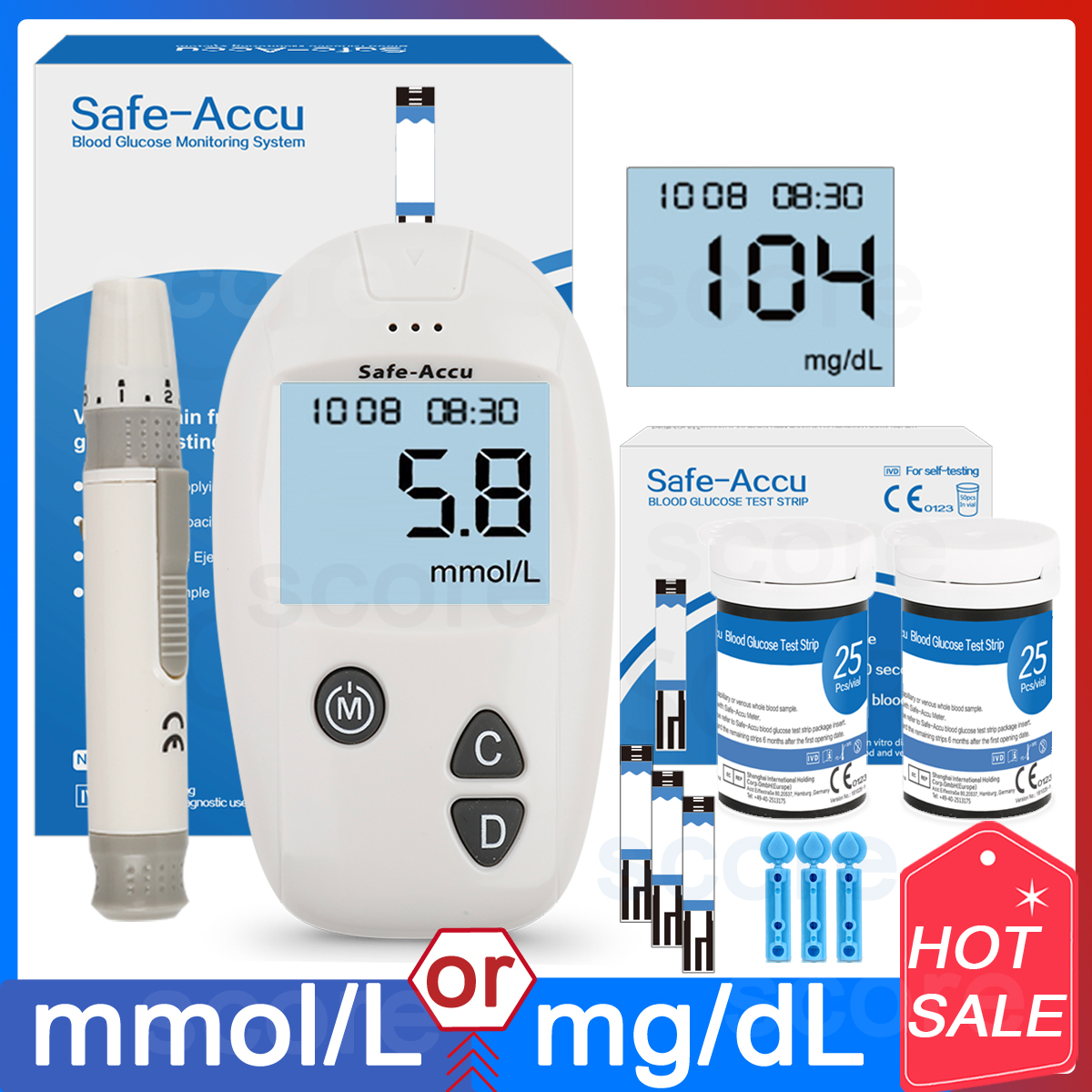 Safe-Accu CE Blood Glucose Meter Glucometer Kit Diabetes Tester 50/100 Test Strips Lancets Medical Blood Sugar Meter Glm Medical
