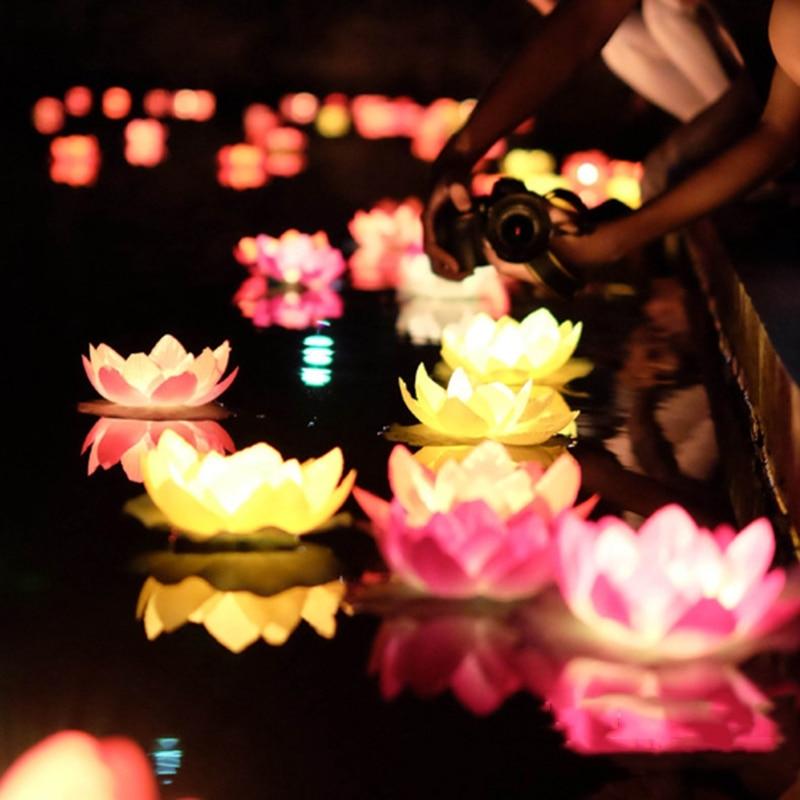 LED Lotus Night Light Artificial Floating Lotus Lamp Fake Water Lily Lotus Flower Garden Pool Pond Fountain Jardin Decor 18cm