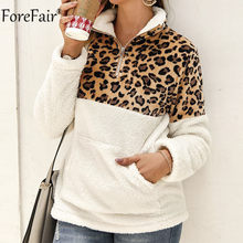 Forefair Leopard Pocket Zipper Women Sweatshirt Autumn Winter Patchwork Long Sleeve White Black Casual Fur Pullover(China)