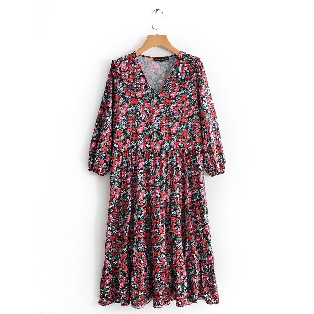 Early Autumn New Style Fashionable Temperament V-neck Long Sleeve Flower Print Long Dress