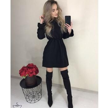 2019 Autumn Women Solid Ruffle Mini Dress Sexy Off Shoulder Long Sleeve Elastic Waist Dress Women Casual A Line Party Dresses 5