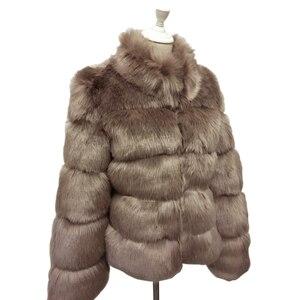 Image 5 - ZADORIN אופנה חורף מעיל נשים יוקרה פו שועל פרווה מעיל בתוספת גודל נשים לעמוד פרווה צווארון ארוך שרוול פו פרווה מעיל fourrure