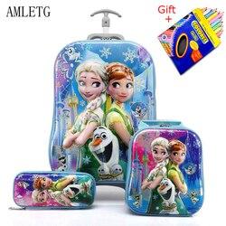 حقيبة أطفال للسفر حقيبة الأمتعة للفتيات الأطفال المتداول حقائب سفر حقيبة المدرسة مع عجلات حقيبة بعجلات