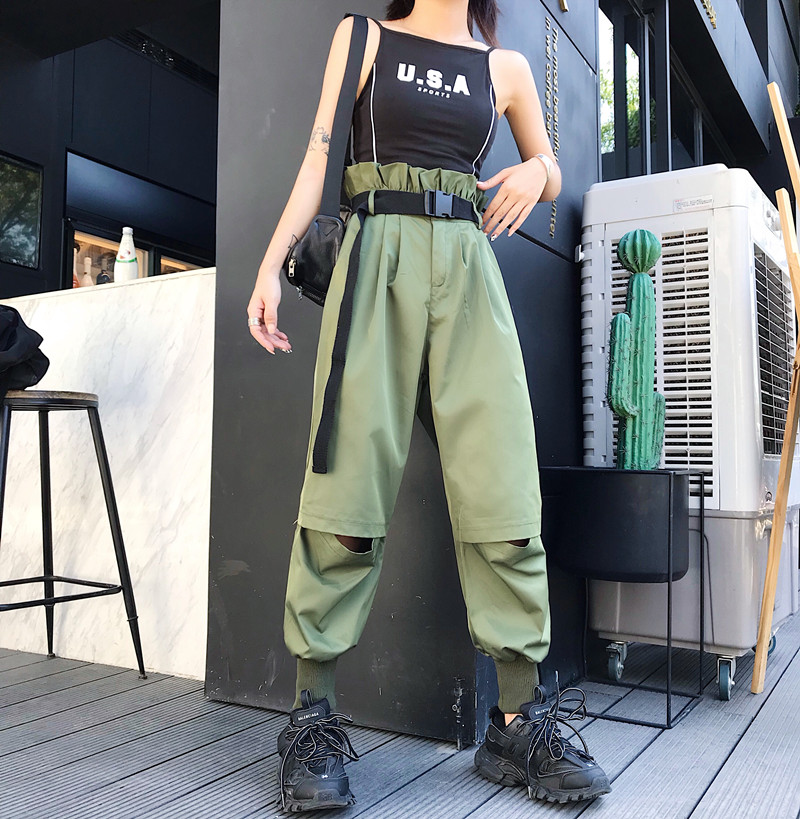 Hot Big Pockets Cargo pants women High Waist Loose Streetwear pants Baggy Tactical Trouser hip hop high quality joggers pants