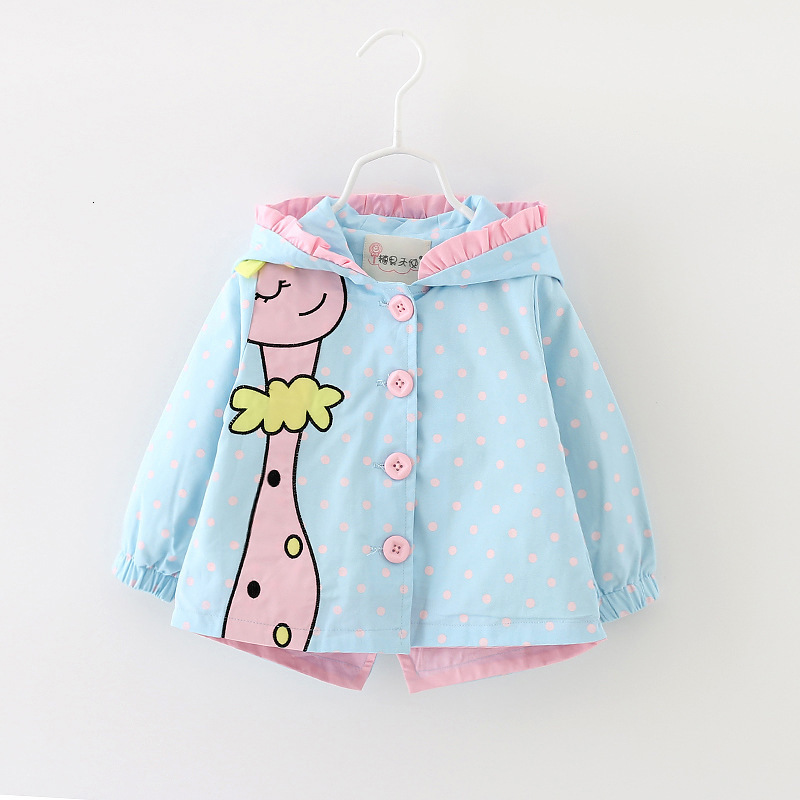 Baby Gril Spring Autumn Cartoon Clothes Loose Coat Baby Windbreaker Girl Print Point Giraffe Loose Kids Girl Clothing Jacket