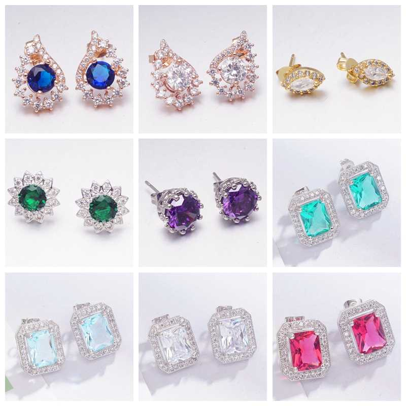 Dropshipping Gold Silver Color Earrings for Women Girls Gifts Cubic Zirconia Earings Fashion Jewelry Wholesale Trendy Earring
