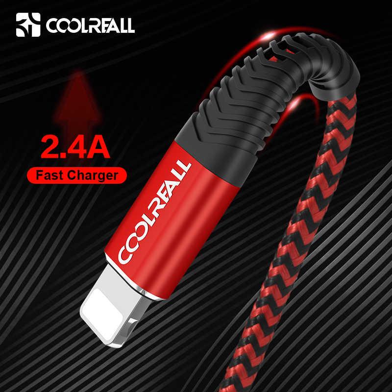Coolreall usb ケーブル iphone 11 プロマックス xr × 8 7 6 プラス 6s 5 s プラス ipad 2.4A 高速充電ケーブルコード携帯電話のデータケーブル