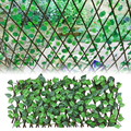 Artificial Garden Fence Retractable Decoration Privacy Faux Ivy Leaves Extension Fencing Wood Vines Climbing Green Leaf Fence