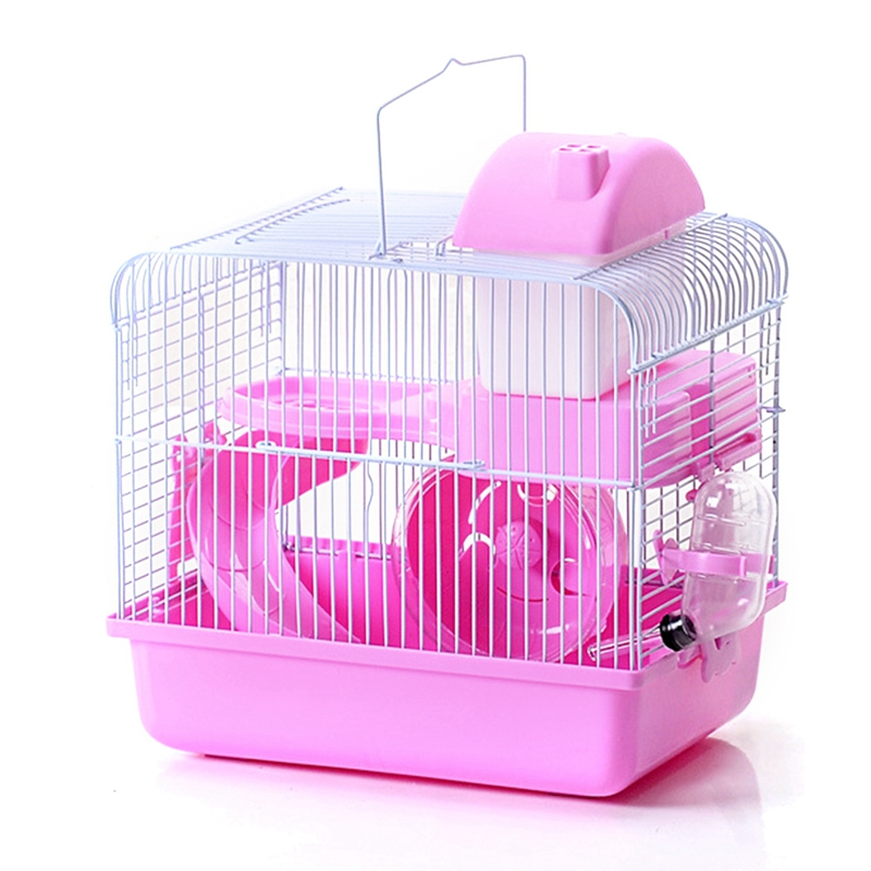 Plastic Hamster Cage Set 2-Tier Portable Hamster Carrier Plastic Hamster House For Rats Guinea Pig Hamster Accessories