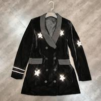 New shining star diamond velvet suit coats long suit jacket