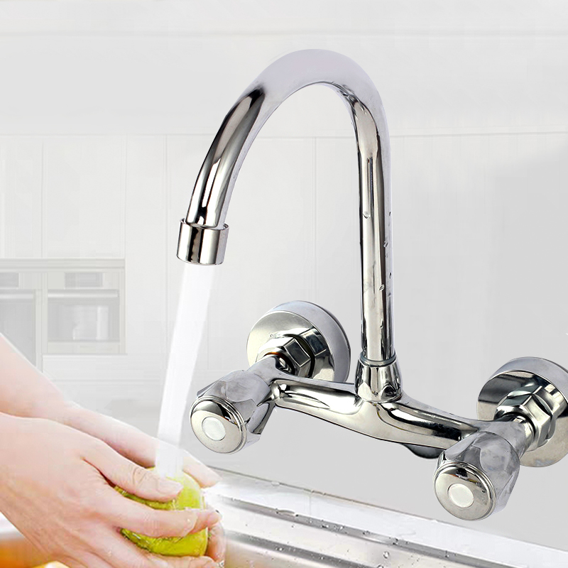 Wall Mounted Kitchen Faucet Double Handle Sink Basin Tap Cold Hot Water Mixer Tap Dual Hole Bathroom Sink Wash Basin Water Tap