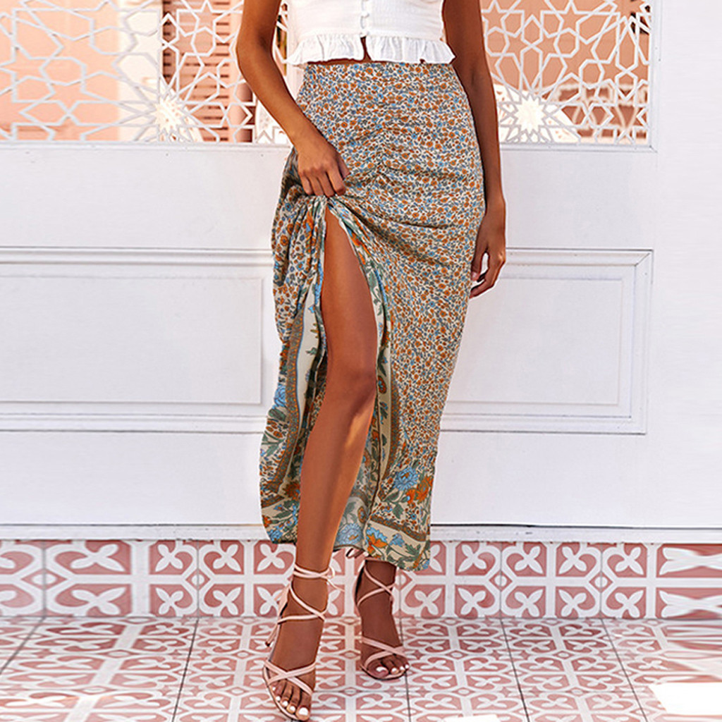 2020 Summer Vintage Printing Long Skirts Woman Fashion Women High Waist Midi Skirt Ladies Beige Beach Sexy Wrap Skirt #35