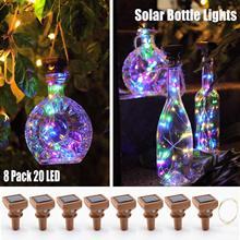 שמש אור מחרוזת יין בקבוק אורות עם פקק גחלילית אורות עבור DIY בקבוקי חתונה מסיבת חג המולד מקורה/חיצוני דקור