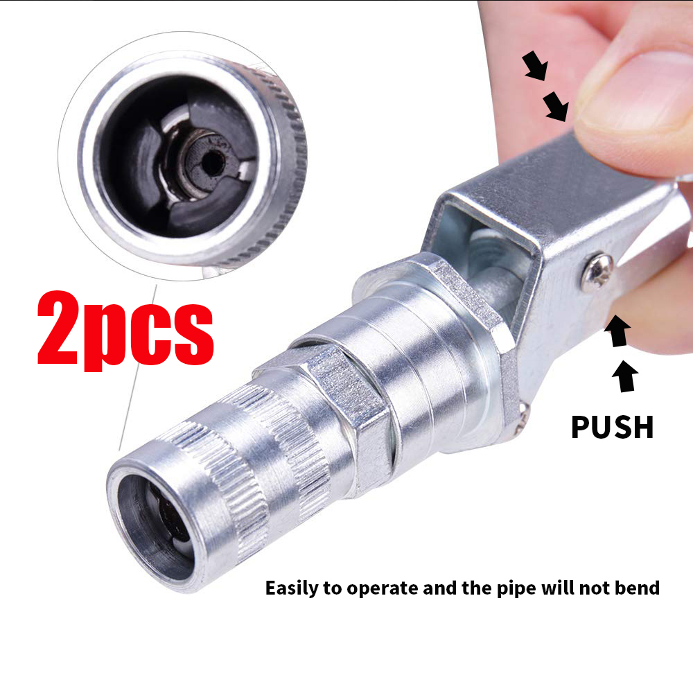 2PCS Grease Gun Coupler Lock Pliers Zerk Coupler Fitting 10,000 PSI 1/8 Inch NPT Upgraded Clip-off High Pressure Grease Couple