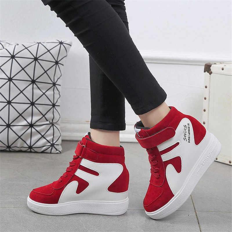 Tênis cunha sapatos mulher plataforma alta superior tênis femininos sapatos casuais novos tênis de salto alto munique zapatillas esporte mujer