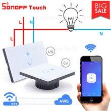 Itead Sonoff Touch EU US Wifi włącznik dotykowy na ścianę 1 Gang 1 Way bezprzewodowe światło zdalne przekaźnik kontrola aplikacji praca z Alexa Google Home