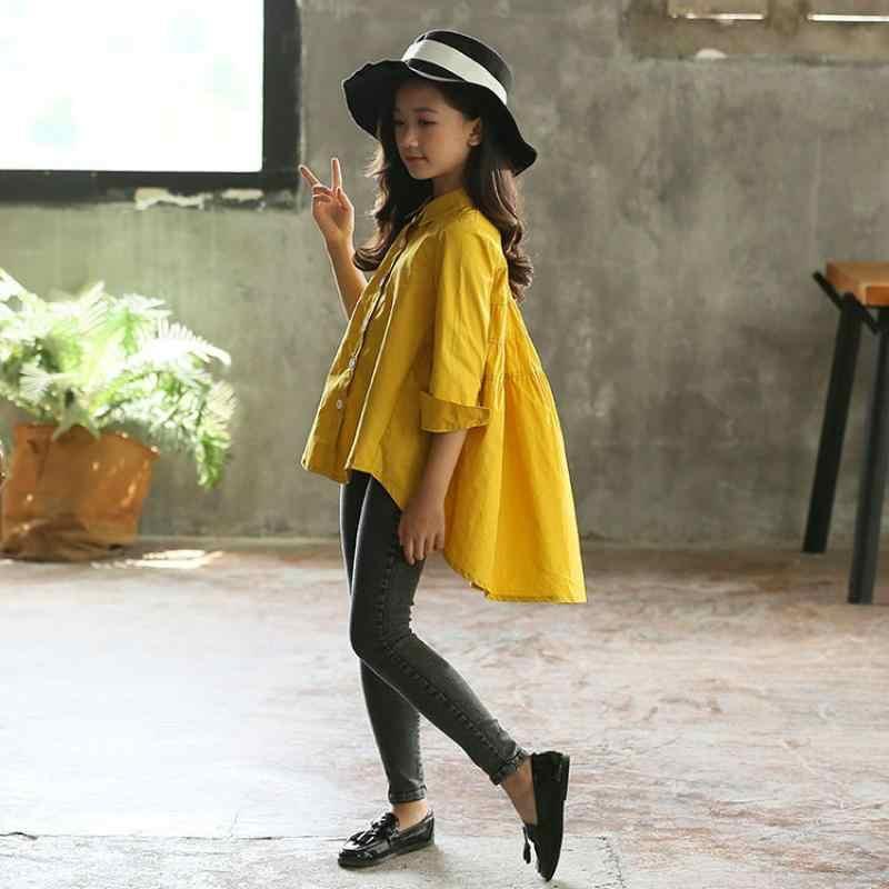 Capretti di Stile coreano Camicette Adolescenti Estate Magliette E Camicette Lungo Camicette per le Ragazze Adolescenti 2020 Teen Bianco Camicetta Gialla 12 14 Anni vestiti