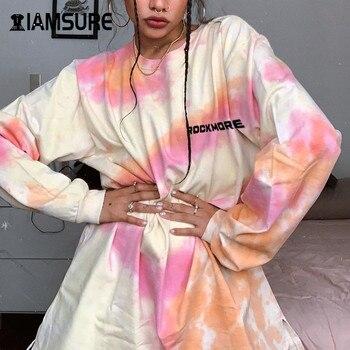 IAMSURE Autumn Tie Dye Letter Print O-Neck Long Sleeve Oversized Sweatshirt Women Kpop Streetwear Casual Loose Female Pullover letter print crew neck long sleeve pullover sweatshirt for men