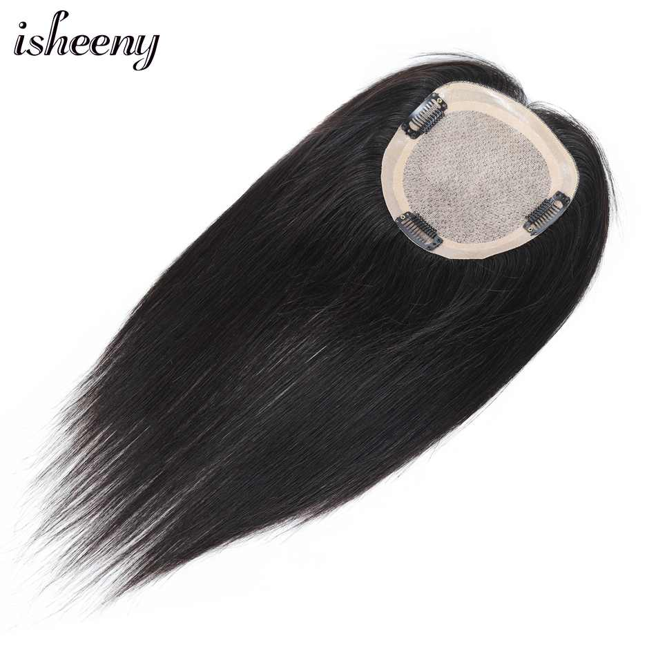 """Human Hair Topper Wig 6""""-16"""" For Women 5X5 inches Breathable MONO PU Base With Clip In Hair Toupee Remy Hairpiece Natural Color"""