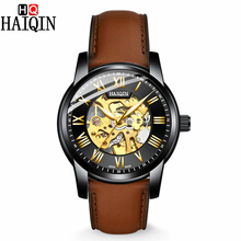 HAIQIN 2019 New Mens Mechanical Watches Fashion Skeleton Watch Men Automatic Sports Waterproof Clock man Reloj Hombre