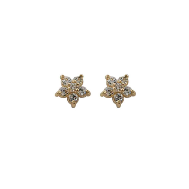 925 Sterling Silver Plated 14k Gold Pavé Crystal Five-pointed Star Earrings Women Simple Fashion Wedding Jewelry Accessories 5