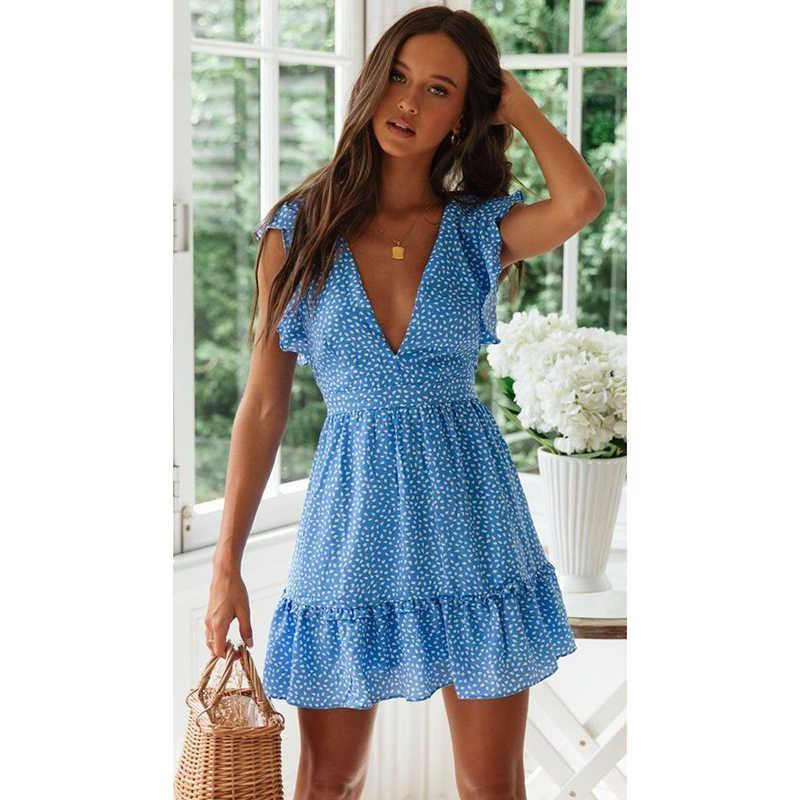 صيف جديد المرأة فستان موضة مثير الخامس الرقبة الأزهار بوهو شاطئ فستان مكشكش حزام الخصر فستان قصير