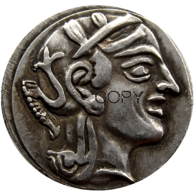 Seltene Antike Antike Antike Athen griechische Silber Drachm Atena Griechenland Adler Drachma Silber Farbe M/ünze