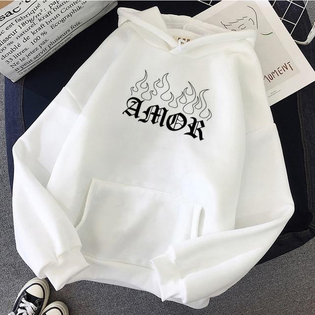 Women Winter Hoodies black size clothes Sweatshirt tops clothing Hoodie Sleeve Female thrasher Hoody vintage Print Harajuku para
