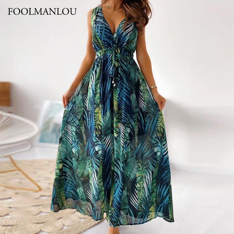 Женское платье макси с винтажным принтом, Пляжное платье без рукавов в стиле бохо, бандажные повседневные платья с открытой спиной, сарафан ...