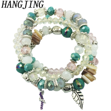 HANGJING 4pcs /set luxury bohemian trendy shell leaves bohe natural stone Crystal beaded bracelets bangle bead for women 2019