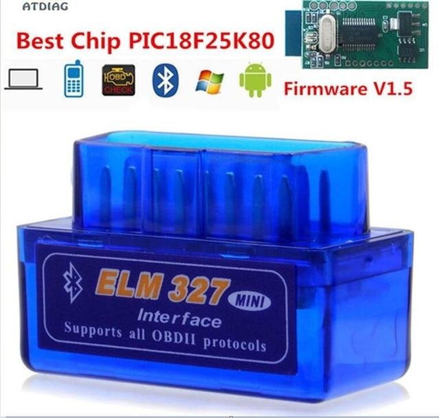 Bluetooth V1.5 veya V2.1 Mini Elm327 obd2 tarayıcı araba için OBD için teşhis aracı kod okuyucu Android Windows Symbian İngilizce
