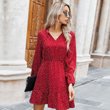 Ladies Spring Summer Polka Dot Print Dress Women 2021 New Casual Lace Up V Neck Full Sleeve Slim Short Dress