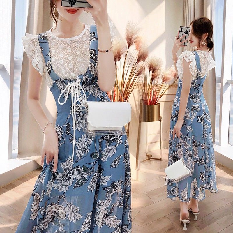 3 Pcs Summer Women Ruffles Lace Blouses Shirts Short Flare Sleeve Tops And Long Floral Print Lace Up Skirts Overall Suits NS676