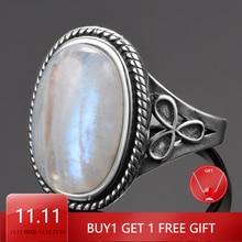 Natural moonstone anéis para mulher prata 925 jóias anéis de festa vintage com 11x17mm grande oval pedras preciosas presentes atacado