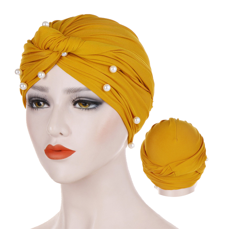 Trendy Muslim Cotton Hijab Caps Solid Color Pearl Wrap Turban Bonnet Arab Headdress Inner Hijab Cap Islamic Head Cover For Women