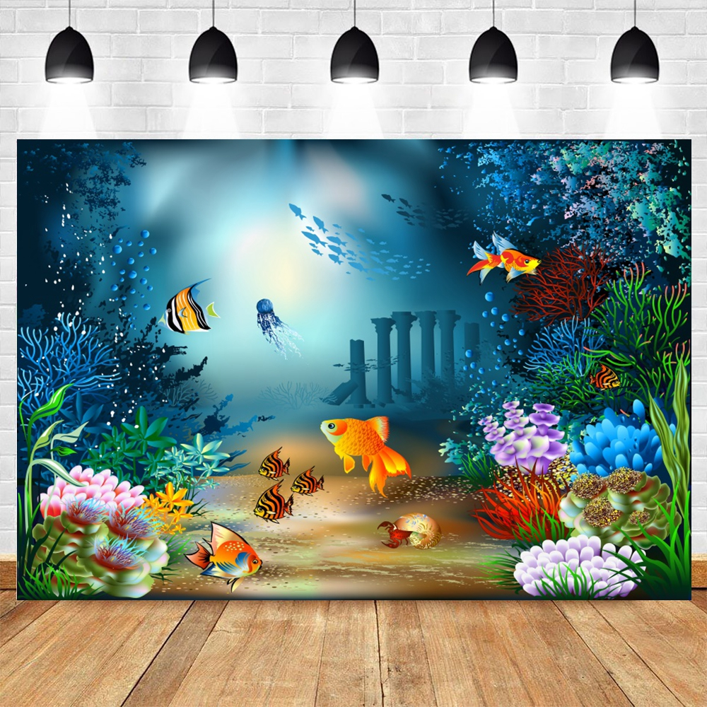 Fundos de fotografia do mar oceano marítimo castelo do peixe coral marinho chuveiro de bebê festa de aniversário fundo para fotografia de estúdio de fotos
