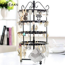 SEAAN Fashion 144 Holes Rotating Earring Metal Stands Ring Display Jewelry Rack Holder Movable Shelf Organizer  Shelves