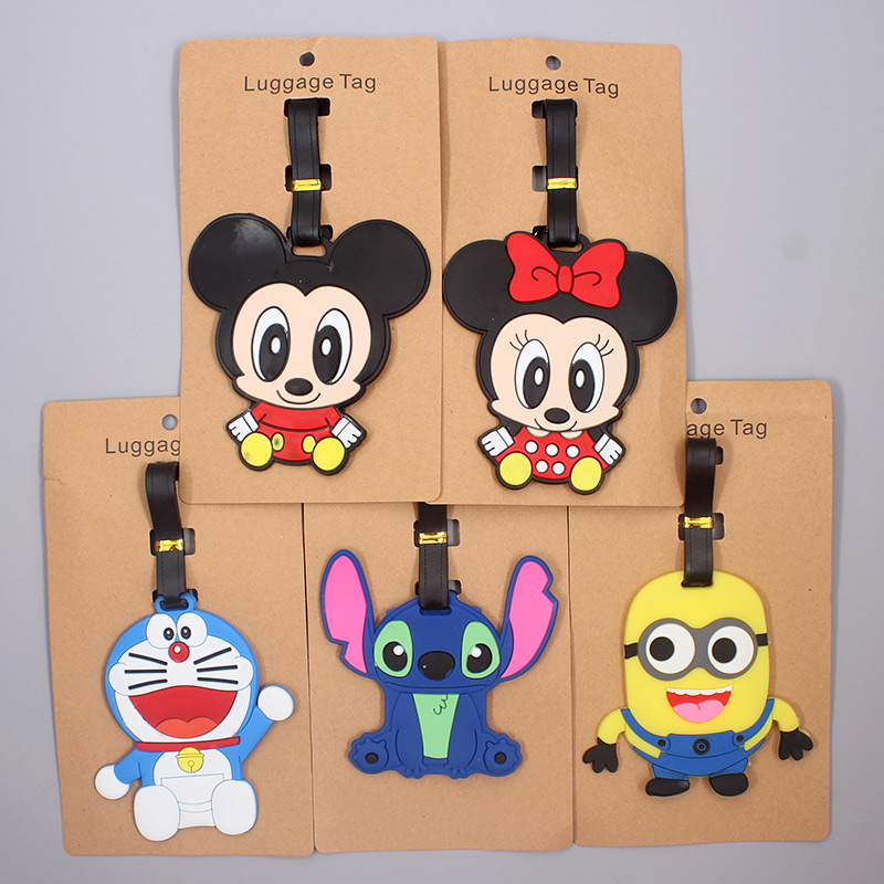 Cartoon Mickey Stitch Luggage Tag Travel Accessories Silica Gel Suitcase ID Addres Holder Baggage Boarding Tag Portable Label