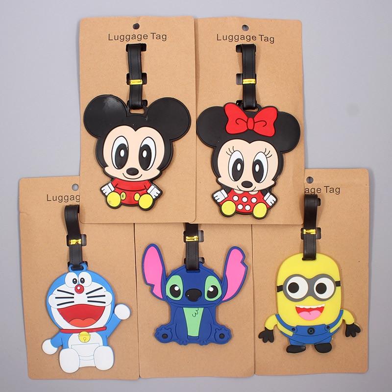 Cartoon Mickey Stitch Luggage Tag Travel Accessories Silica Gel Suitcase ID Addres Holder Baggage Boarding Tag Portable Label