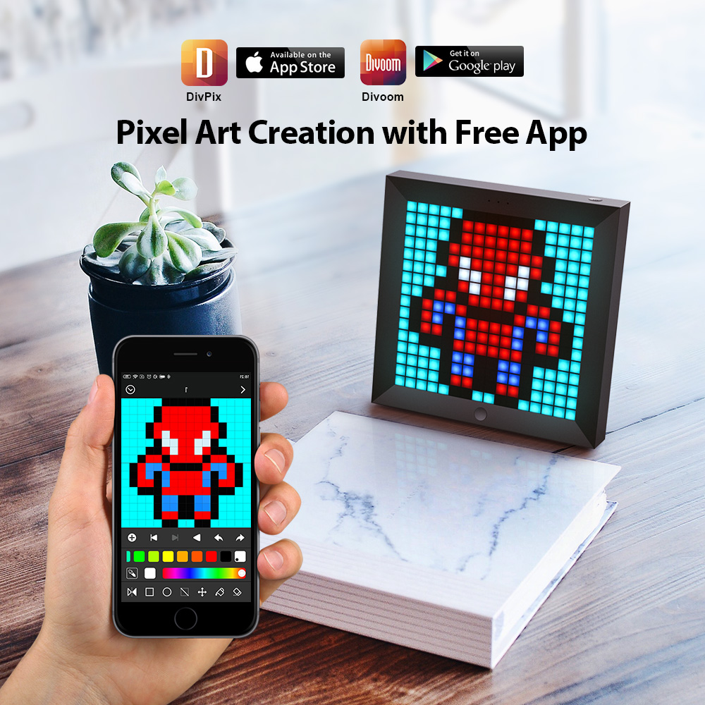 Divoom Pixoo Digital Photo Frame Alarm Clock with Pixel Art Programmable LED Display, Neon Light Sign Decor, New Year Gift 2021