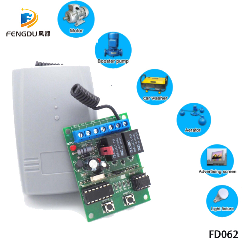 Universal 2 Channel Wireless Garage Door 433MHZ DC12V/24V Rolling Code Receiver With Open Code