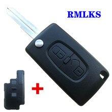 For Peugeot 4007 5008 Flip Remote Key Case 2 buttons Key Blade MIT11R For CITROEN C CROSSER C4 flip remote key shell fob