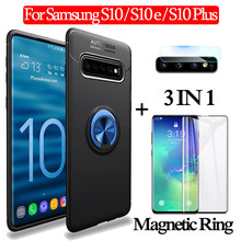 3-in-1 Glass + Magnetic Silicone Case for Samsung S10-e Soft phone S10 Plus Full Cover samsung s10 magnetic ring