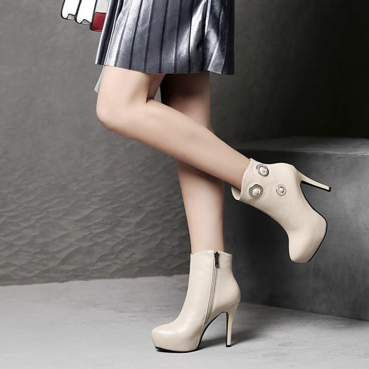 Bottes courtes pointues talons aiguilles femmes bottes courtes baril martin printemps et automne tête cuir 11cm