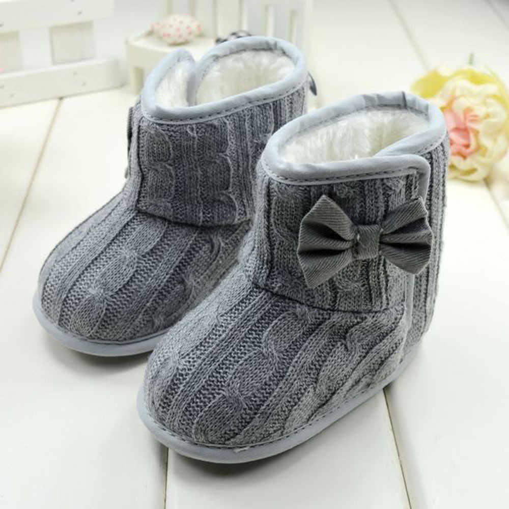 Infant Kids Baby Girls  Bowknot Booties Snow Boots Winter  Soft Sole Gray Toddler Baby Thicken Warm Crib Shoes Boots #BL5