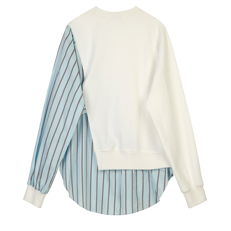 [EAM] Loose Fit Striped Spliced Hit Color Sweatshirt New Round Neck Long Sleeve Women Big Size Fashion Spring Autumn 2020 1B763 2