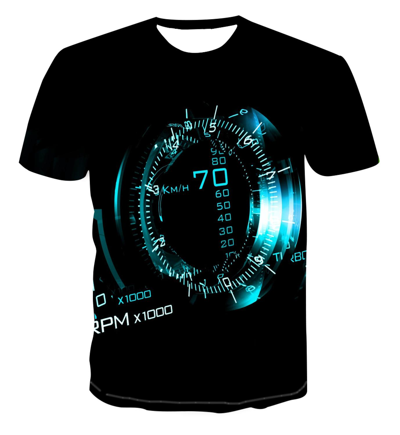 3D New Print Personalized Clock Geometry T-shirt Fashion Street Style Men's Summer Short Sleeve Top T-shirt S-6xl